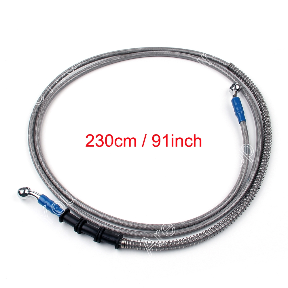 Areyourshop  2300mm  Hydraulic Reinforced Brake Clutch Oil Hose Line Pipe Banjo Fitting Fit Dirt Pit Bike Universal keoghs 400mm to 2200mm universal motorcycle hydraulic reinforced brake or clutch oil hose line pipe fit atv dirt pit bike