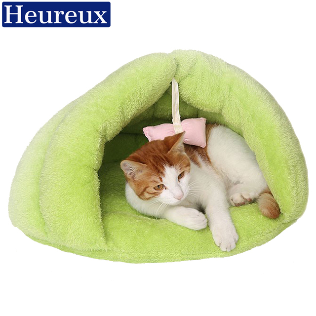 Heureux warm cat bed thick pet bed dog green color cat house for winter soft half cover hammock for cats