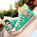 Primavera sapatos de lona alta criança sapatos menina colorido desenho sapatos único sapatas das mulheres