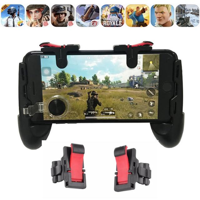 2 pcs Gatilho do jogo Gamepad Controlador joystick para Telefone L1r1 Pubg Pubg Botões de Disparo com Joystick para iPhone Android phone