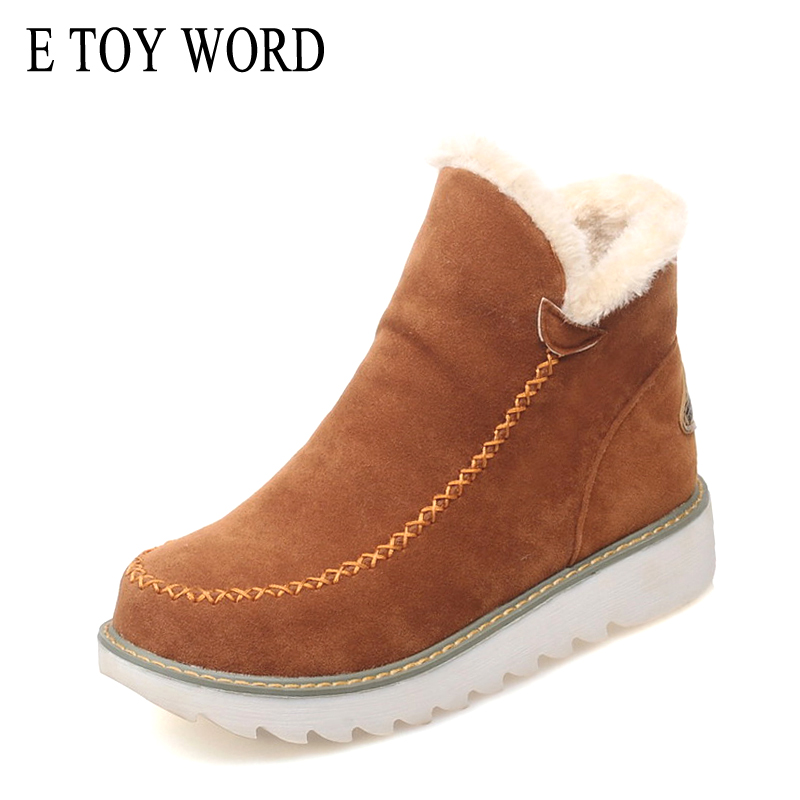 E TOY WORD Women Boots Plus Size 40 43 Warm winter shoes Slip On Women 39 s Ankle boots Woman Botas Mujer Plush Ladies Snow Boots in Ankle Boots from Shoes