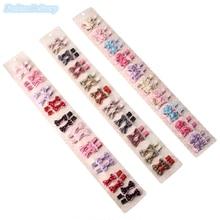 20pcs/lot Cute Bowknot Hair Clip Plaid Polka Dots Floral Barrettes Fashion Trinkets Hairpins Girls Hair Accessories