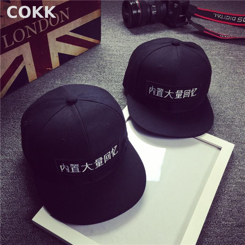 COKK New Embroidery Chinese Characters Hip Hop Black Baseball Cap For Women Men Sun Hat Casual Gorras Casquette Snapback Caps 2016 new new embroidered hold onto your friends casquette polos baseball cap strapback black white pink for men women cap