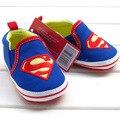 Retail 1 unids zapatos de bebé para las muchachas del muchacho azul S superman bebé zapatos de niño de algodón bebe tamaño 2,3, 4 para el bebé niños niño walker