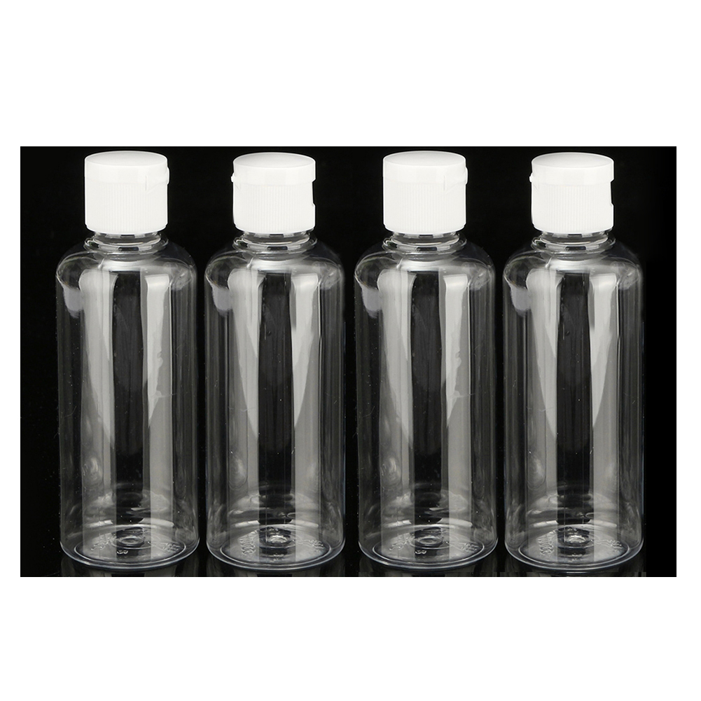 YOST-4 x 100ml Plastic Clear Flip Bottles Travel Shampoo Lotion Cosmetic Container yost 100ml plastic syringe with hose