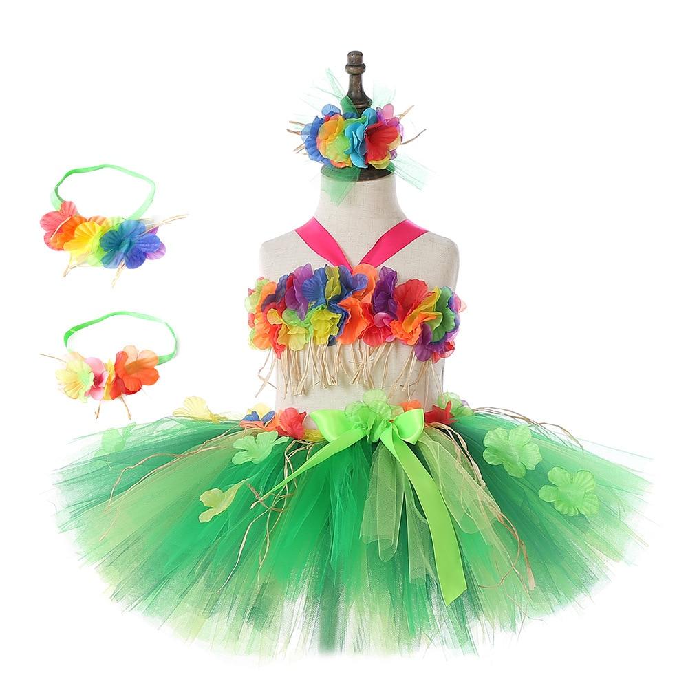 Hawaii Green Flower Fringes Tulle Skirt Girls Solid Mini Skirt for Girls Princess Tassel Party Skirt Baby Photography Costumes (1)