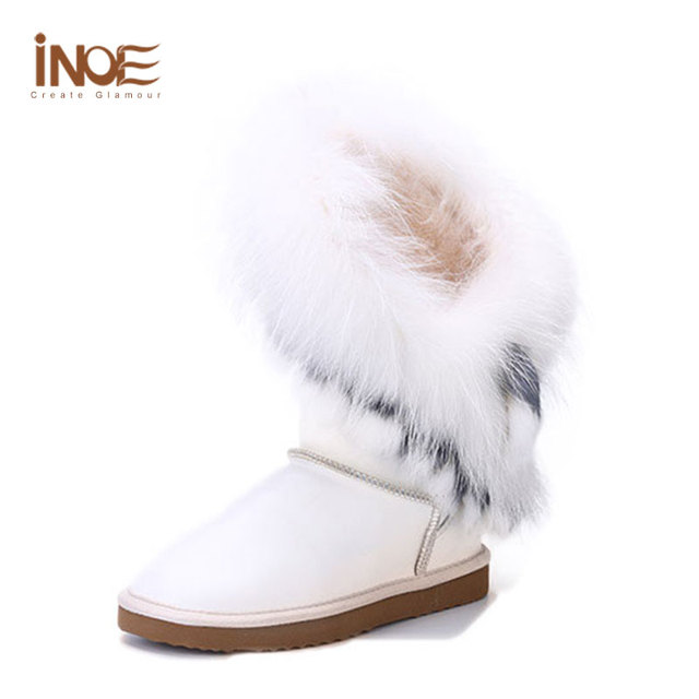 Real Fox Fur Boots Genuine Leather Waterproof Snow Boots Women White Fur  Boots Flat Shoes Rabbit Fur Womens Size 13 14 Ladies 8bcc997c9