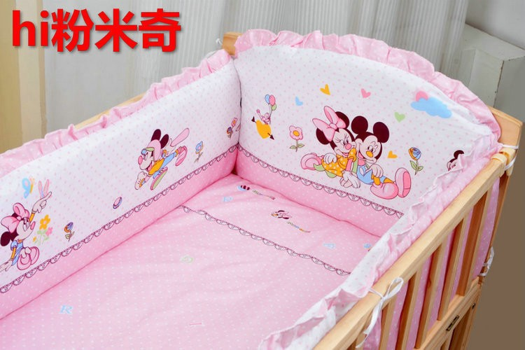 Promotion! 6PCS Bear Appliqued Baby Cot Crib Bedding Set (3bumper+matress+pillow+duvet) promotion 6pcs bear baby bedding set 100