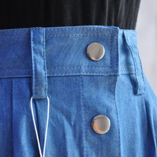 Women Long Denim Skirt Femme Casual Loose High Waisted Single Breasted Maxi Jean Skirt Saias Feminina 3XL