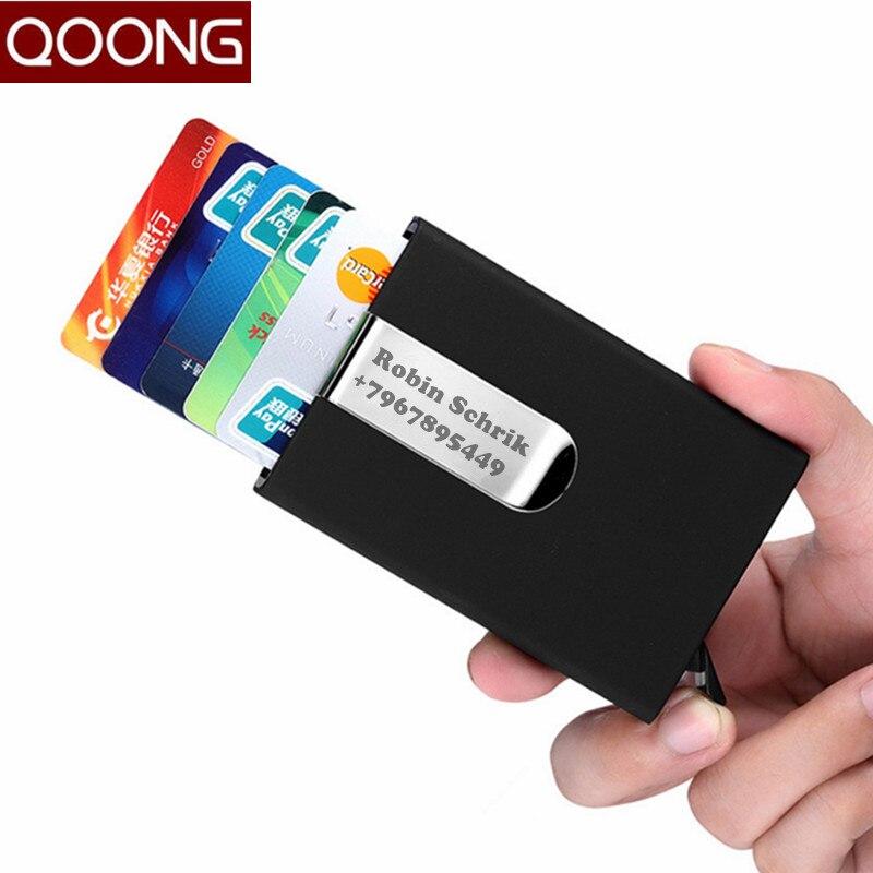 Кошелек для путешествий QOONG, автоматический держатель для карт, из нержавеющей стали, металлический зажим, 1-005