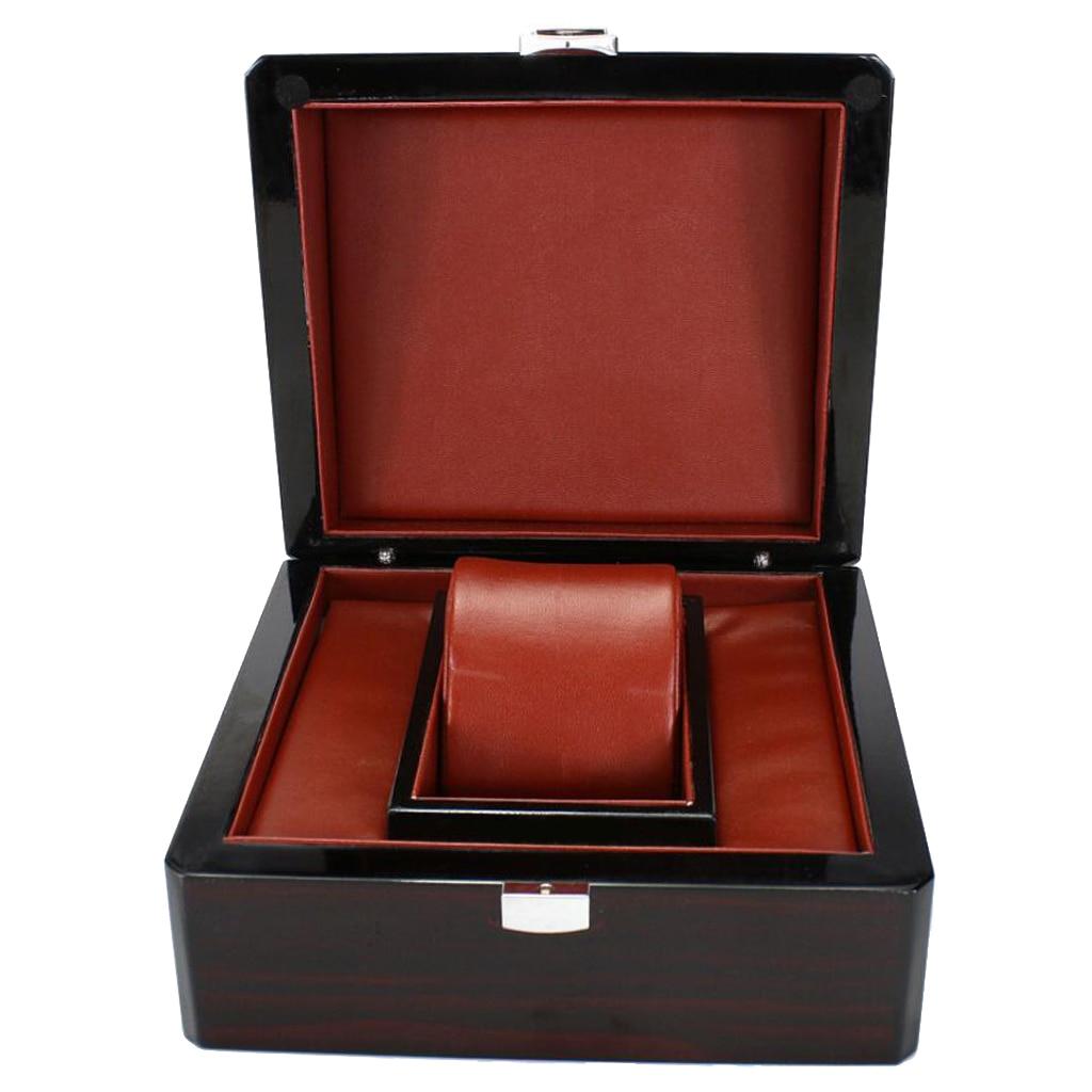 Single Slot Wooden Watch Case Wristwatch Box Organizer Storage Travel Black 17 x 15 x 10cm atv recovery strap 1 inch x 15 ft single ply