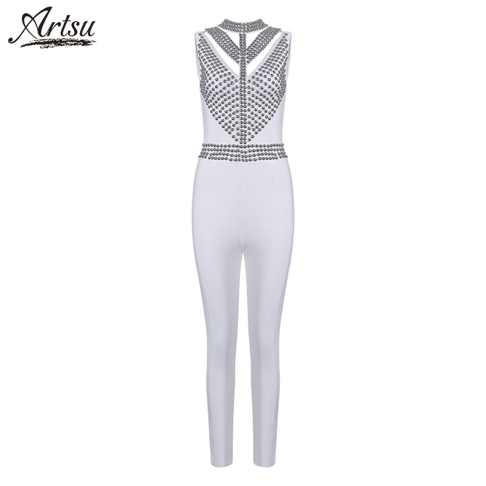 ArtSu 2018 Bandage Jumpsuits Nightclub Party Beading Summer Skinny Sexy Ladies Full Length White Jumpsuits Drop-shipping Retail