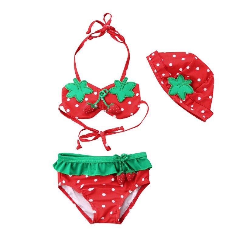 Children Kids Girl Clothes Set Swimsuit Strawberry Summer Sleeveless Bikini Bathing Suit Beachwear Hat Girls Clothing 3Pcs