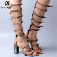 Prova Perfetto Gladiator Women Sandal Shoe Cow Suede Camel Black Open Toe Mirror Heel Knee High