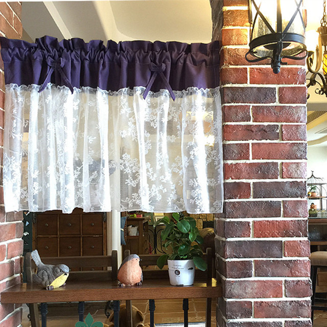 Xyzls Chinese Retro Style Luxury Purple And White Lace Kitchen Curtains Blinds Cafe Curtain Short Door