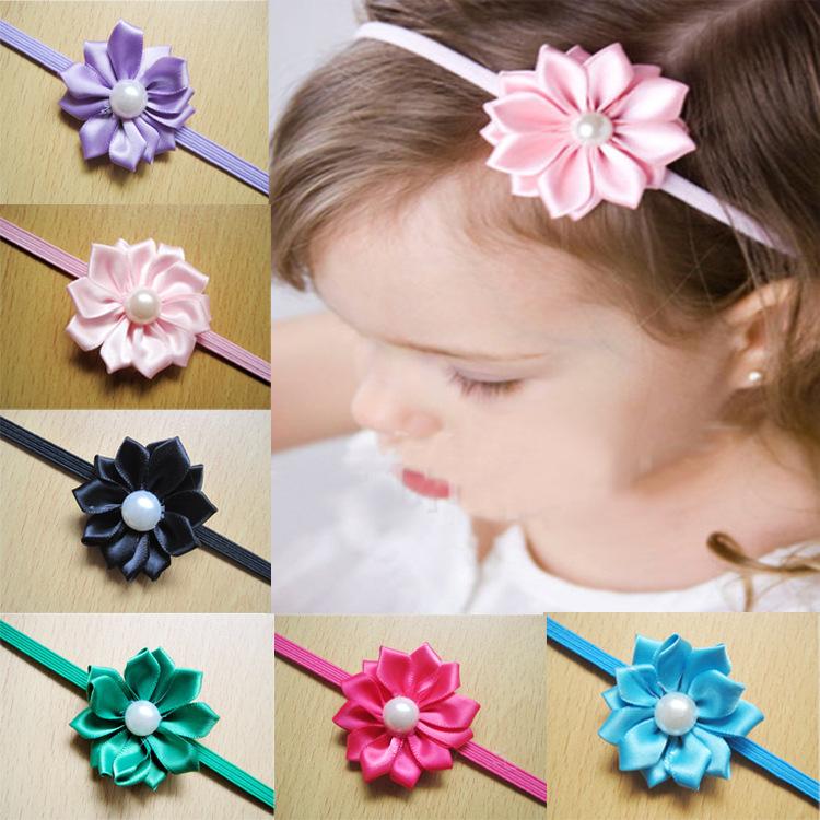 venta al por menor diadema diadema con perlas flores de raso fino flaco venda elstico accesorios