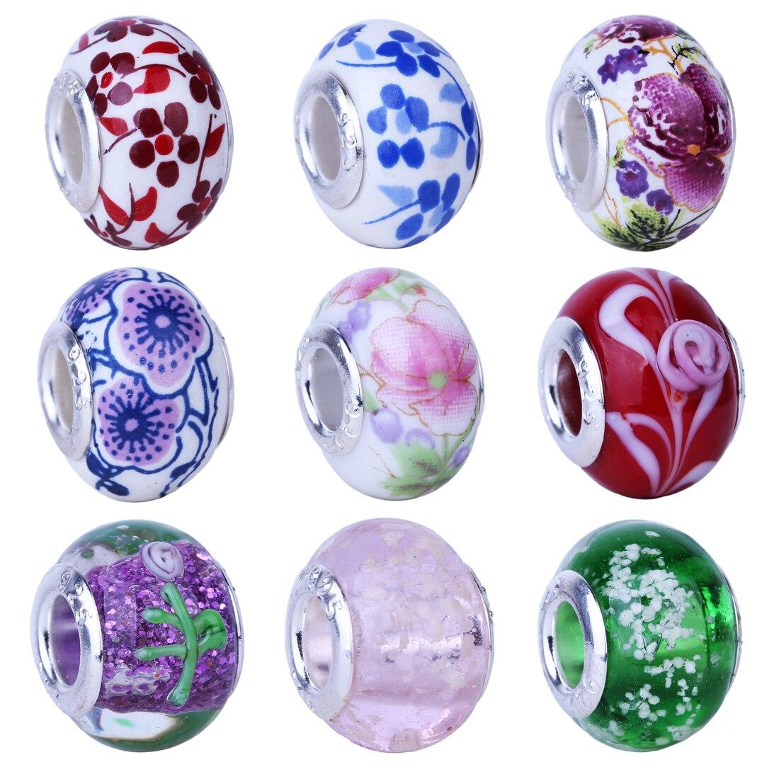 Free Shipping Classic MURANO Flowers Bead European LAMPWORK Beads Fit Pandora