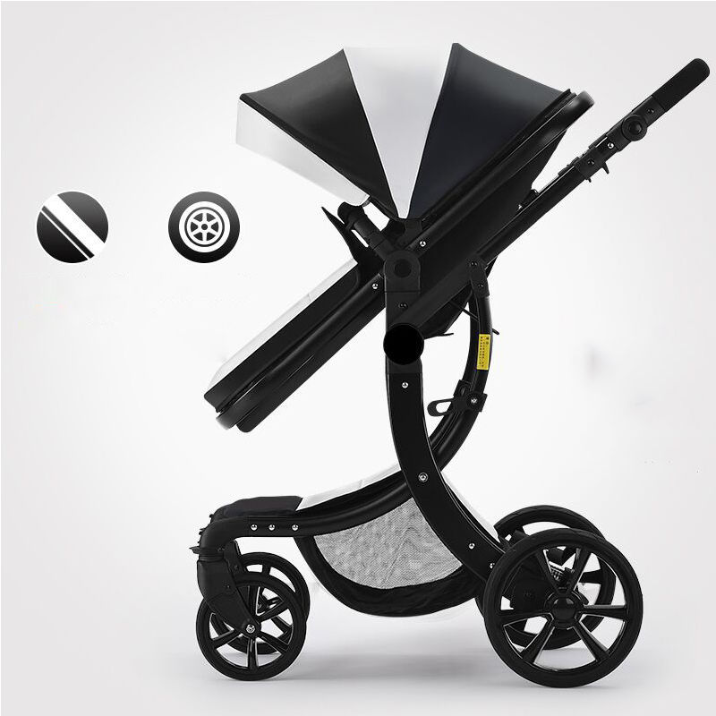 Baby stroller can sit flat high landscape folding lightweight newborn four-wheel suspension baby widening stroller