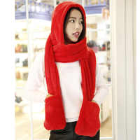 3 in 1 Women Winter Warm Soft Hooded Scarf Snood Pockets Gloves Scarfs Hat Best Sale-WT