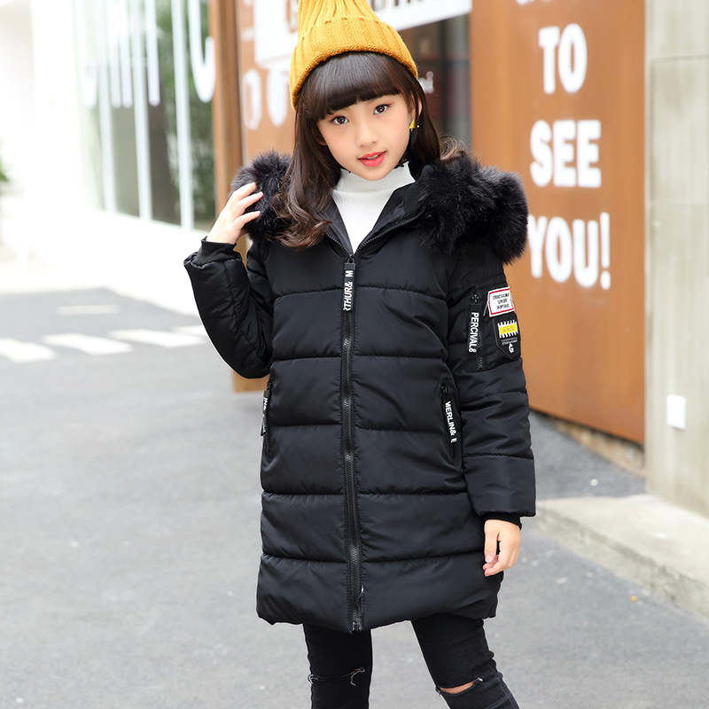 fou collar hooded coat girls Casual cotton jacket  Winter Kids girl Long Soild Zipper Coat Children Clothing  6 8 10 12 14 Year