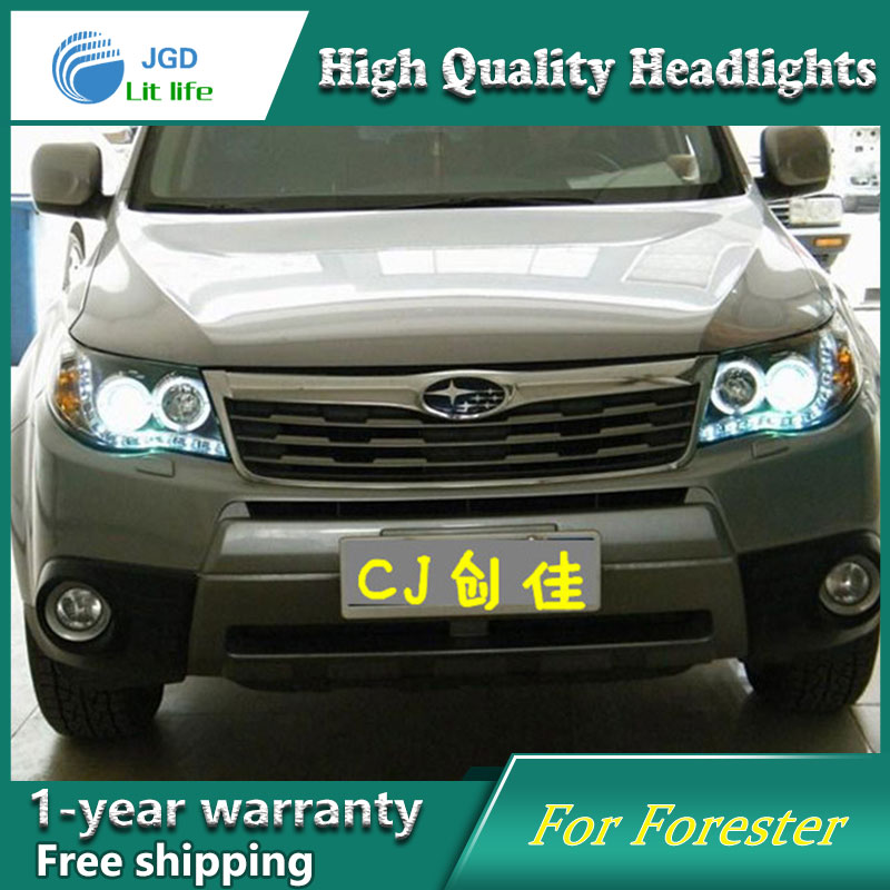 JGD Car Styling Head Lamp for Subaru Forester Headlights 2008-2012 LED Headlight DRL H7 D2H Hid Option Angel Eye Bi Xenon Beam