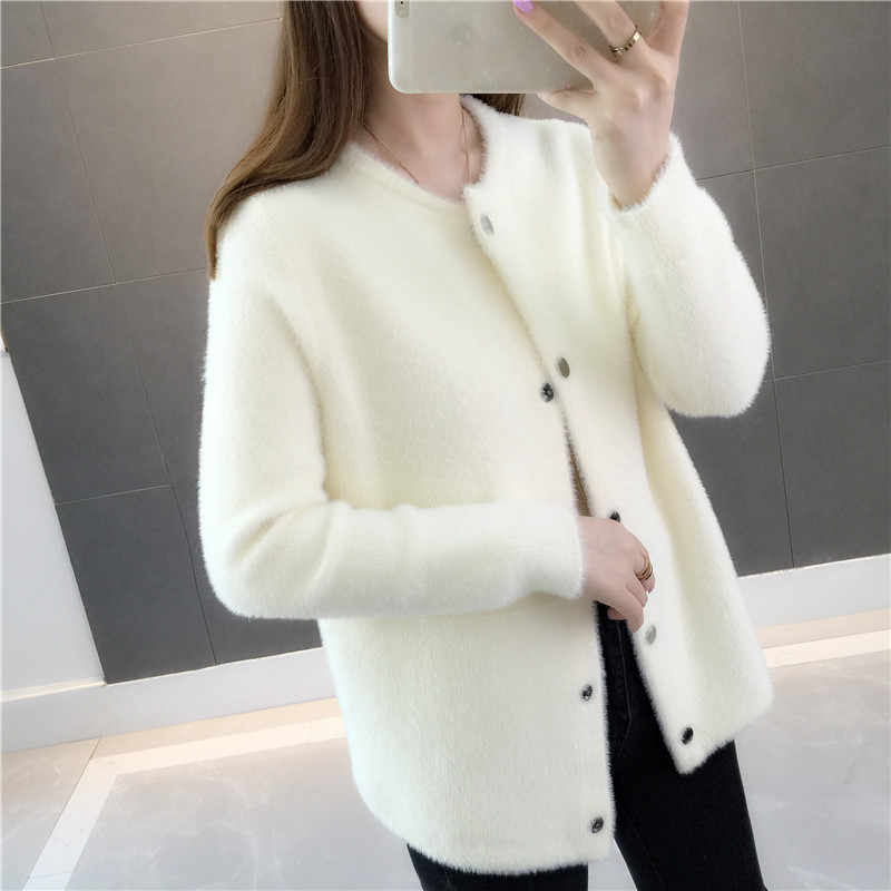 Spring Women Sweater 2019 New Loose Thick Female Sweaters Round Neck Single-Breasted Ladies Cardigan Sweater Qw052