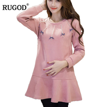 RUGOD 2018 Newest SpringSummer Autumn  Women Dress Cute Fashion Long Sleeve Knitted Femme Robe Plus Size Pink Female vestidos