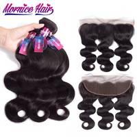 Mornice Brazilian Body Wave Hair 3 Bundles With Lace Frontal Human Hair Bundles With Frontal Natural