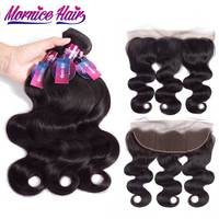 Mornice Hair Brazilian Body Wave Human Hair 3 Bundles With 13X4 Lace Frontal Closure With Baby