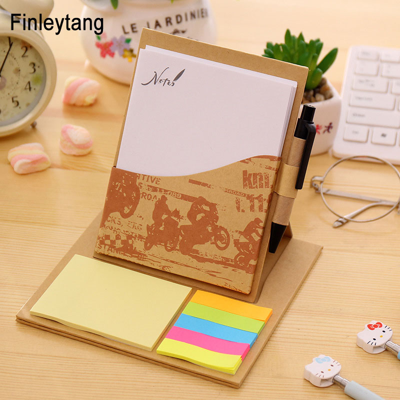 2017 Multifunction Memo Pad With Pen Creative Craft Kraft Paper Sticky Notes Leave Messge Office School Home Desktop Supplies 200 sheets 2 boxes 2 sets vintage kraft paper cards notes filofax memo pads office supplies school office stationery papelaria