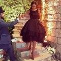 Hot Sale Black Cocktail Dresses Sexy Backless Chic Short Prom Dress 2016 Lace Applique Arabic Formal Wear Vestido De Festa Curto