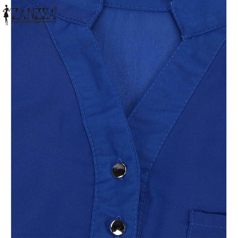 Zanzea Elegant Chiffon Women Blouse Blusas Feminina - ქალის ტანსაცმელი - ფოტო 5