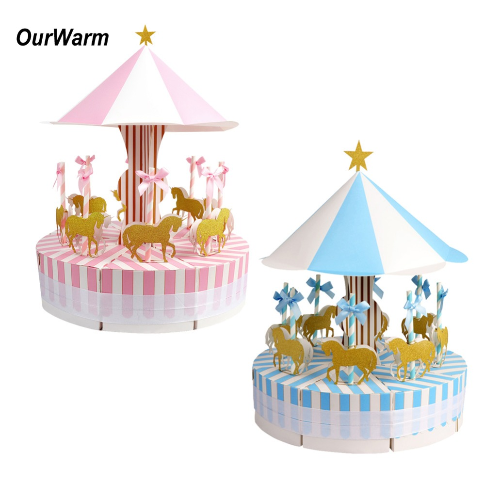 OurWarm Baby Carousel Party Decorations Birthday Wedding Paper Gift Box Candy Boxes With Unicorn Cake Topper