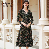 Long Casual Print Slim A line Dresses Women Fashion POKWAI 2017 Autumn New Arrival High Quality Wrist Sexy V Neck Sashes Dress