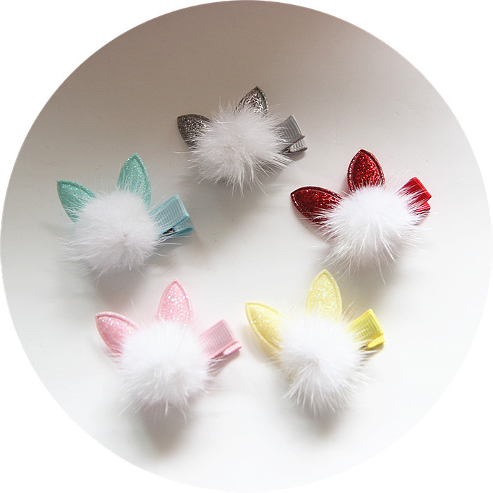 1 PCS Lovely Rabbit Ear Hair Ball Baby Hairpins Kids Hair Clips Princess Barrette Children Headwear Girls Hair Accessories 1 pcs lovely cartoon swan temperament baby hairpins kids hair clips princess barrette children headwear girls hair accessories