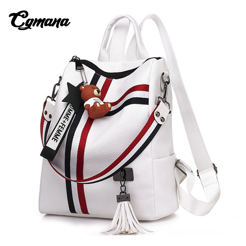CGMANA Ribbon Multi-Function Backpack Female 2018 Retro Women Stripe Soft Leather Ladies Shoulder Bags Womens