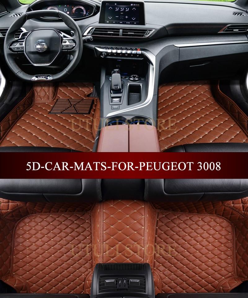 Leather Car Floor Mats For Peugeot 3008 4008 5008 Suv Custom Fit Car