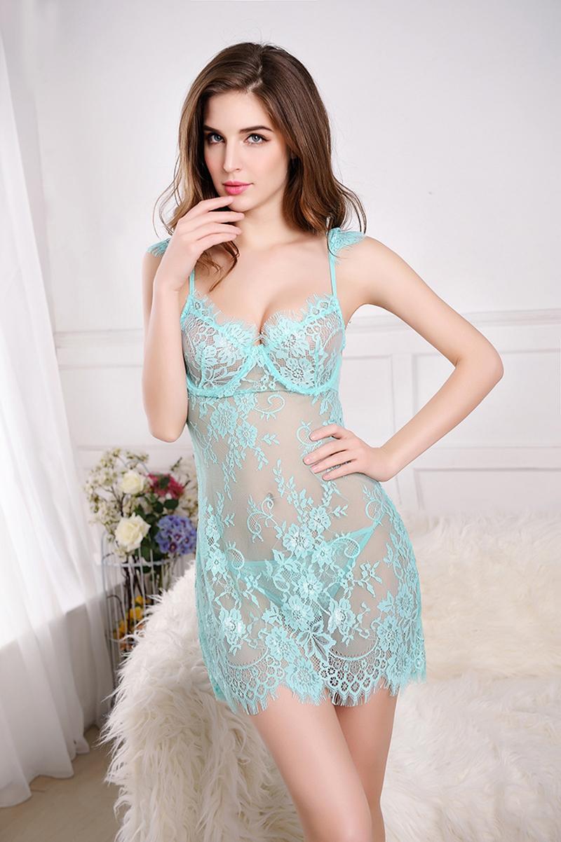 d24b0b2abc1 New Sexy Lingerie Lace Nightgown Women Thongs Black Night Dress Mini Sleep Dress  Nightwear Pijama Pyjamas Ladies