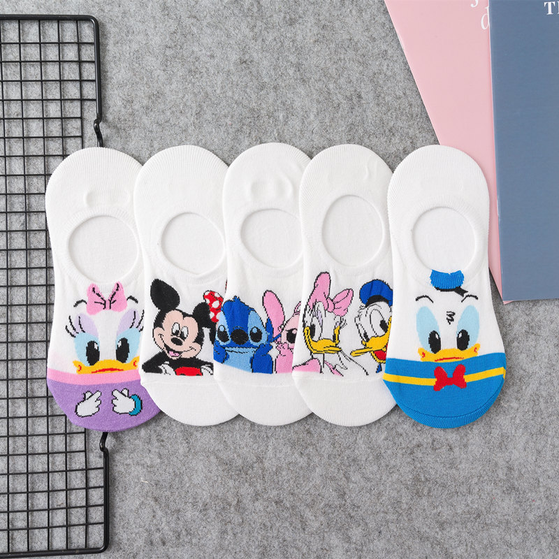 Korean Spring Summer Black White Breathable Comfortable Kawaii Short Ankle Sock Calcetines Cartoon Mouse Sock Unique Funny Women