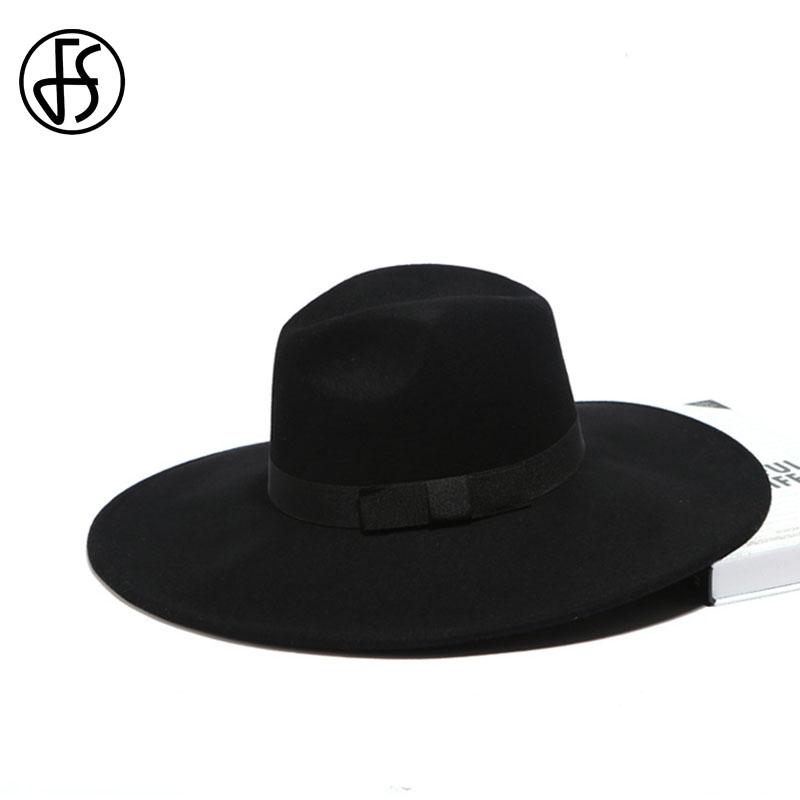 Image 4 - FS Elegant Big Black Hat Large Brim Fedoras Wool Felt Hat Women Bow Panama Cap Australian Ladies Trilby Hat Autumn Casual Mujere-in Women's Fedoras from Apparel Accessories