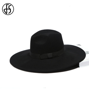 Image 5 - FS Elegant Big Black Hat Large Brim Fedoras Wool Felt Hat Women Bow Panama Cap Australian Ladies Trilby Hat Autumn Casual Chapeu