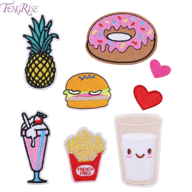 FENGRISE Cartoon Embroidered Patch Iron On Patches For Kids Clothing Felt Sewing Applique Lace Badge Letter Embroidered Patch