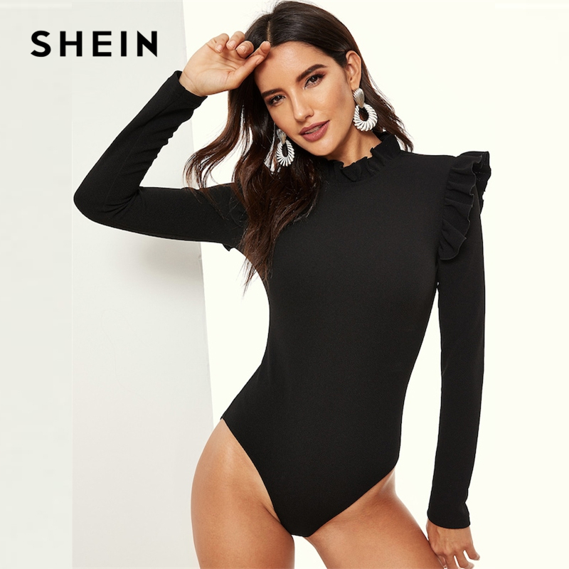 SHEIN Black Stand Collar Frill Detail Slim Fitted Skinny Plain Bodysuit Long Sleeve Women 2019 Spring Mid Waist Bodysuits 1