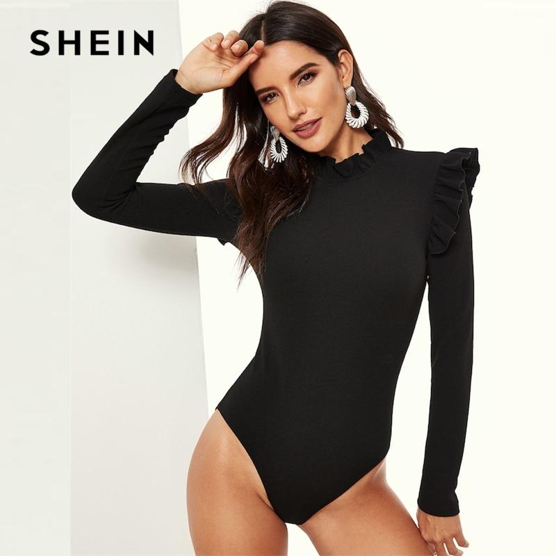 SHEIN Black Stand Collar Frill Detail Slim Fitted Skinny Plain Bodysuit Long Sleeve Women 2019 Spring Mid Waist Bodysuits