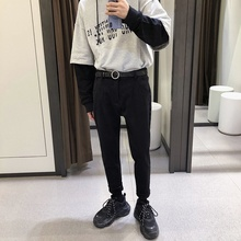 2018Winter New Fashion Casual Mens Jeans Plus Velvet Slim Feet Pants Thickening Personality Simple Trousers Youth Micro-elastic
