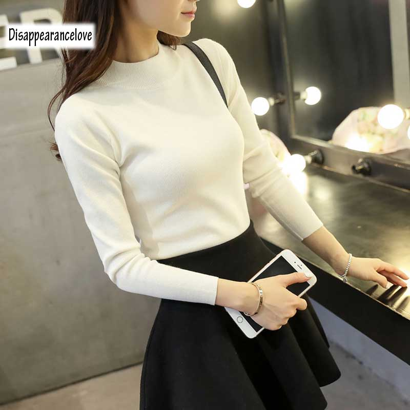 Disappearancelove female short design thickening slim turtleneck sweater autumn and winter long-sleeve pullover sweater