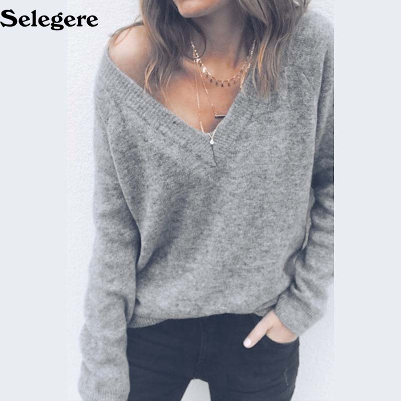 10pcs/lot 2018 Knitted Sweater Women Fashion Long Sleeve V Neck  Pullovers Sweater Sexy Female Backless Women Casual Sweater 2XL