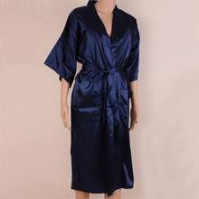The Newest Navy Blue Men Bath Robe Kimono Bath Gown Faux Silk Yukata Nightgown Size M