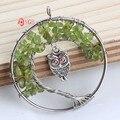 YGB 1 pcs Prateado natural olivina tree of life gravel winding com coruja pingente círculo