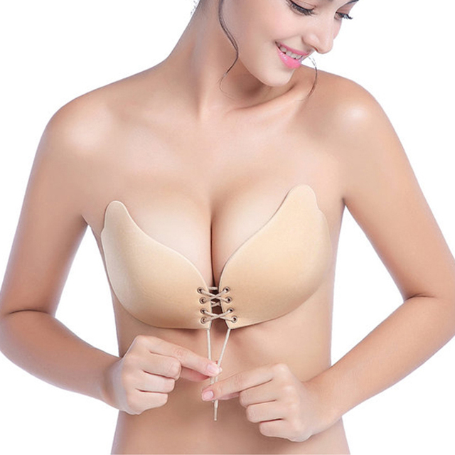 225e88723d Women Self Adhesive Strapless Bra Super Push Up Silicone Black Invisible Bra  Gel Underwear Women Fly